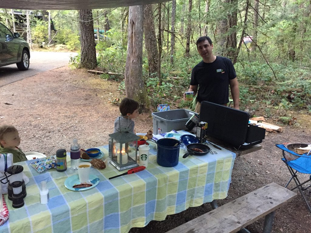 picnic table, camping cooking